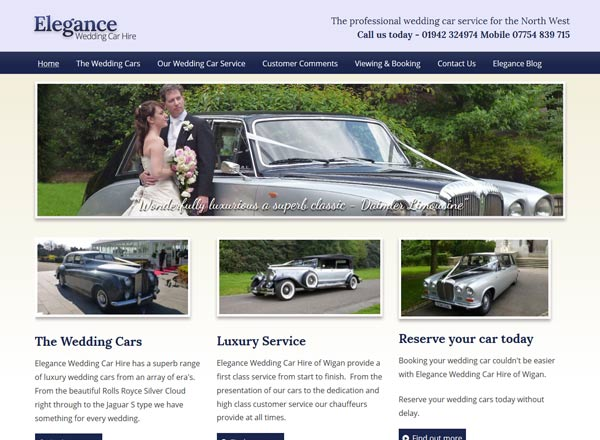 Elegance Wedding Cars Website